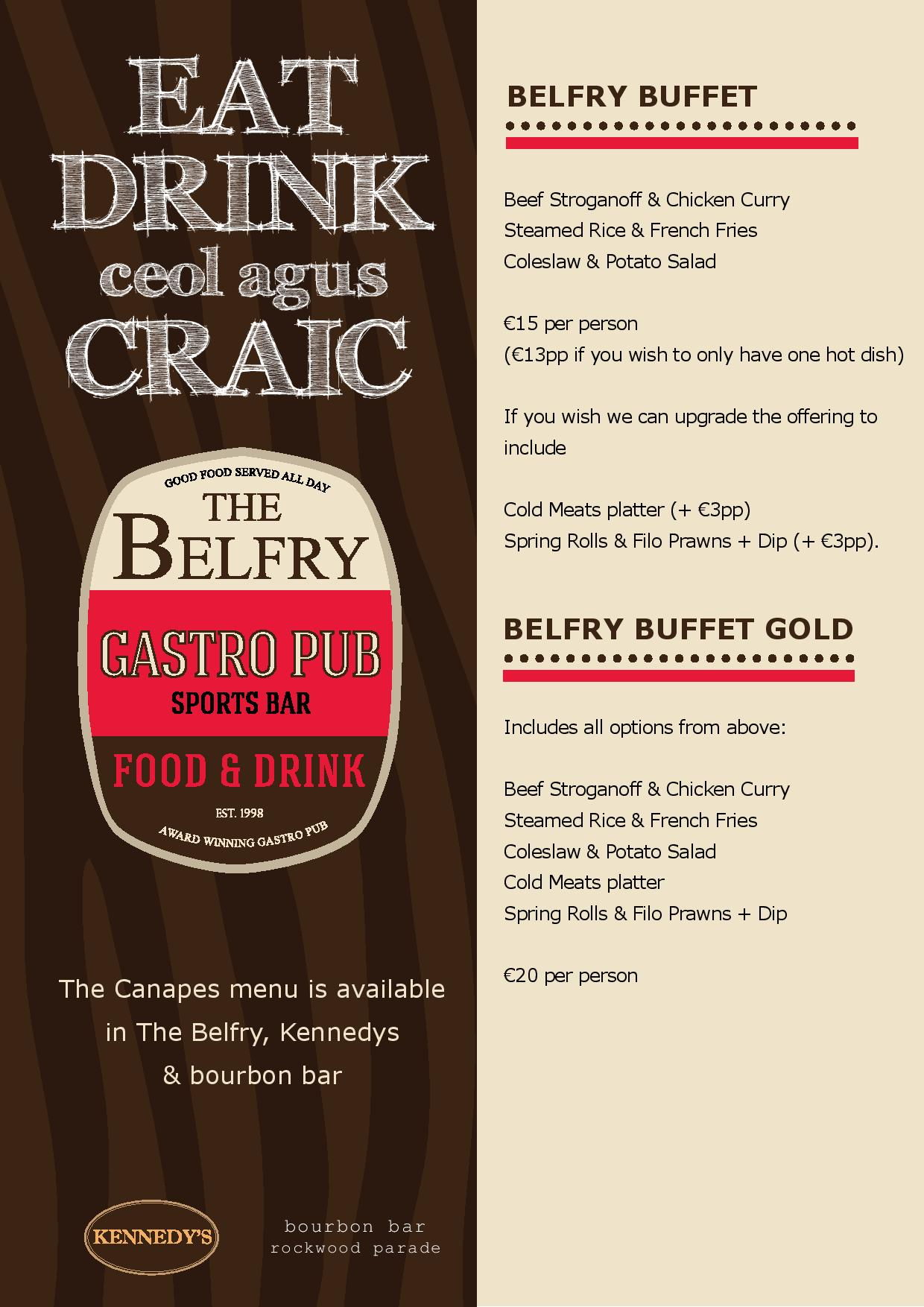Belfry Bar Sligo – Award winning Bar Food